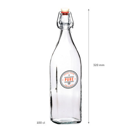 A square 1 litre clip lock glass bottle available at Helloprint with customised printing options for a cheap price