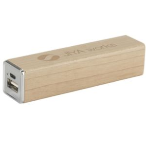 Printed wood powercharger incl. usb/micro-usb cable
