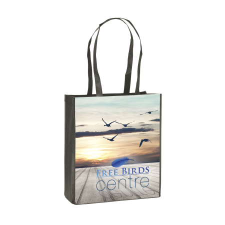 Spacious tote bag with long straps. At Helloprint you can personalise it with your own logo or text for cheap.