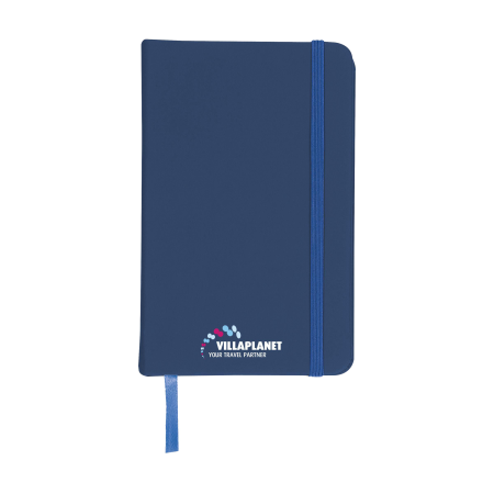 A blue coloured A6 notebook available with personalised printing solutions for a cheap price at Drukzo