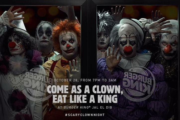 #scaryclownnight Burger King Halloween marketing campagne