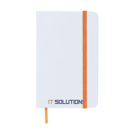 A white notebook with orange strap available at Helloprint with customised printing options for a cheap price