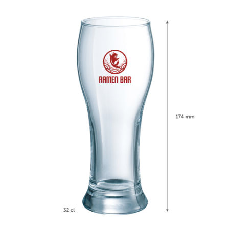 A Belgian design beer glass, 32 cl, that is available to be printed with a custom logo on the side at Helloprint
