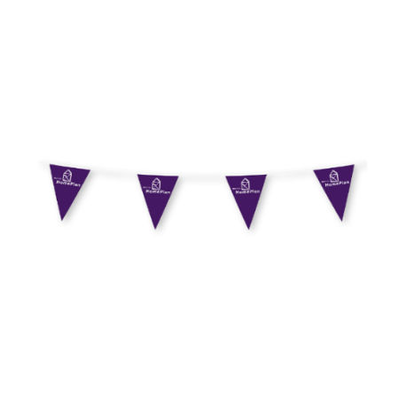 An example of triangular bunting flags hung across a wall, available at Helloprint with custom full colour printing