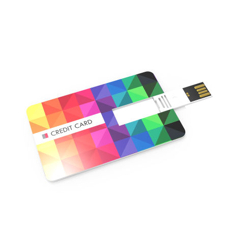 A sample image of a primary USB credit card, available to be printed with a custom logo or branding at Helloprint