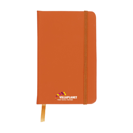 An orange pocket A6 Notebook available at Drukzo with custom printing options for a cheap price