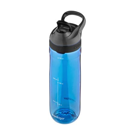 A blue coloured Contigo Cortland Water Bottle available with a personalised logo or image printed at Helloprint