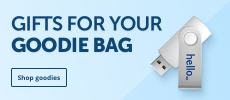 Fill your goodiebag with promotional items such as printed pens and usbs.