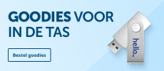 Vul je goodiebag met promotionele items zoals bedrukte pennen en usb-sticks.