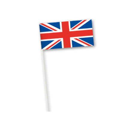 An example product image of a British flag printed on a paper country flag, available at Helloprint in full colour.