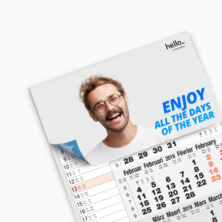A foldable calendar available at Helloprint with custom printing options for cheap prices
