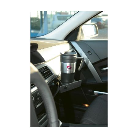 A thermos mug showcased within the interior of a car, available with customised printing solutions at Helloprint
