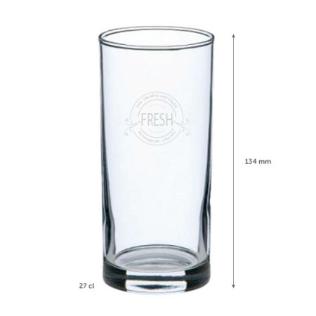 A 27 cl long drink glass with 344mm length measurement available at {[shop_name}} with a custom logo or image printed on the side.