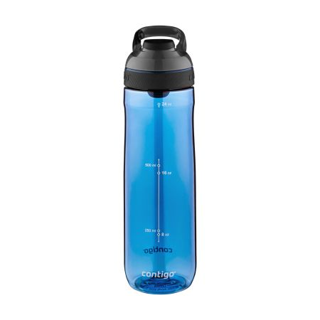 A blue coloured Cortland water bottle available with custom printing options for cheap prices at Helloprint
