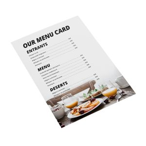 PVC Menu cards personalisation