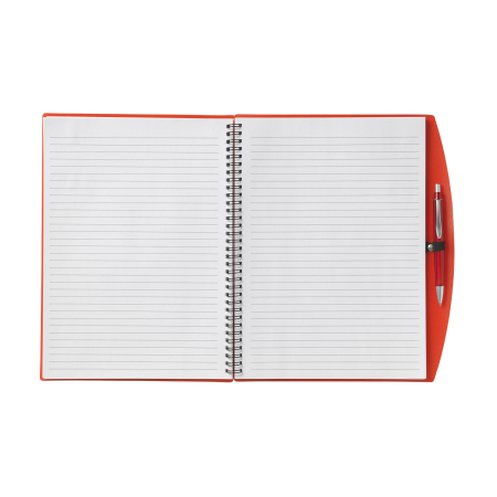 An open red notebook available at Helloprint with custom printing solutions for cheap prices