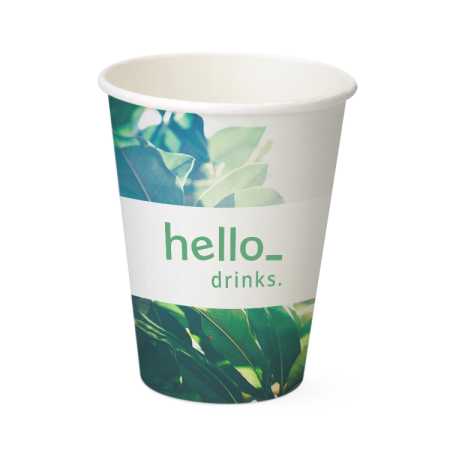 printed organic paper cups, available at Helloprint with a personalised image or theme printed across the cup