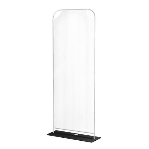 Ein aufgestellter Röhrenständer mit einem transparenten Display