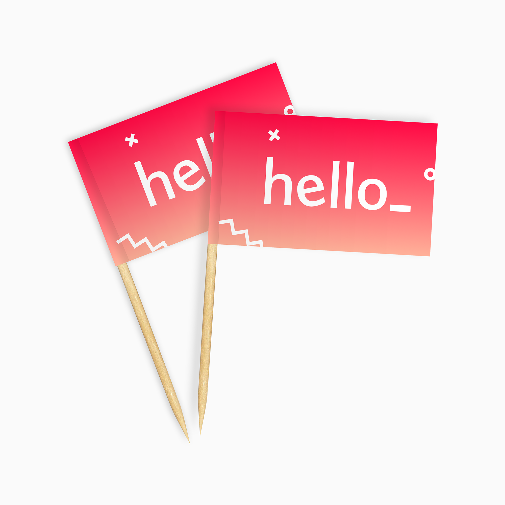 Cocktail toothpicks with a printed flag attached to the top, available with a custom logo or text at Helloprint.