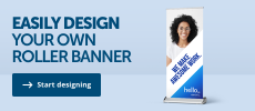 Design your own roller banner at Helloprint.