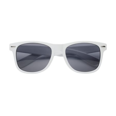 A white pair of budget sun glasses available at Drukzo with custom printing options for a cheap price