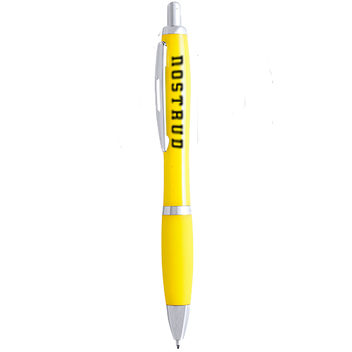 A  yellow high quality printed pen, available to be printed with a custom logo at Drukzo.