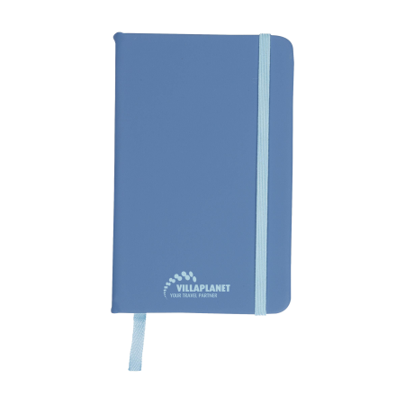 A blue coloured A6 pocket notebook available at Drukzo with custom printing options for a cheap price