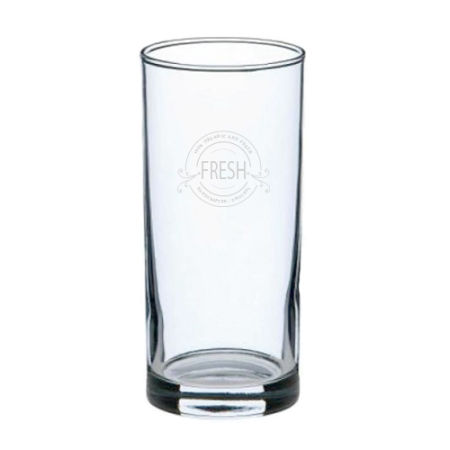 A product image of a 27 cl long drinking glass available to be printed with a personalised logo or image on the side at Helloprint