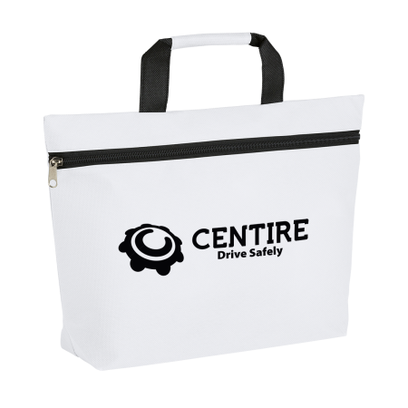A promotional white briefcase bag printed with a company logo, to personalise on Helloprint