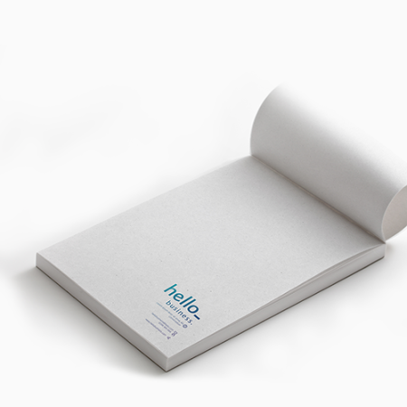 Opened notepad made of recycled paper. At Drukzo you can personalise it with your own logo or design.