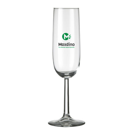A customisable 17 cl champagne glass available with a personalised logo or image printed on the outside at Helloprint