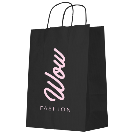 A black coloured Kraft paper bag available with personalised printing solutions for a cheap price at Helloprint