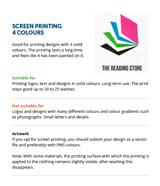 4 colours (screen printing)