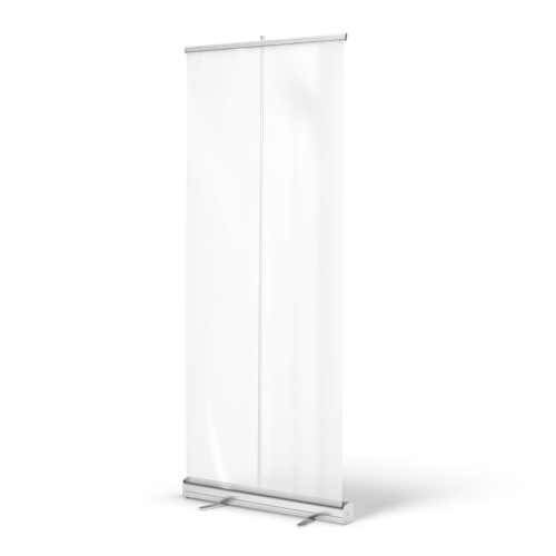 Image of a transparent roll up banner mounted up with a silver standard base