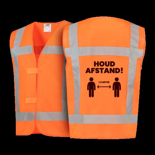 Oranje veiligheidshesje houd 1,5 meter afstand