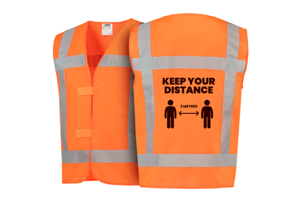 Orange safety vest with pre-printed design