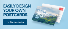 A banner promoting the ability to design your own postcards at Helloprint