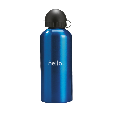 A blue coloured aluminium drink bottle available with custom printing options for a cheap price at Helloprint