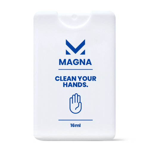 """Image of a white rectangular sanitizing spray with a pink design """"hello_ clean hands"""""""
