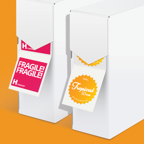 Custom Size labels on roll in a rectangular or contour shape from Helloprint