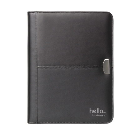 Premium, leather business document folder at Helloprint. You can print your company logo and text on the folder.