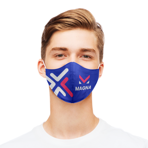 A man wearing a close fitted mask personalised with a pink design.