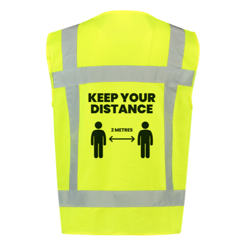 Keep your distance with our high visibility jacket (yellow) back view