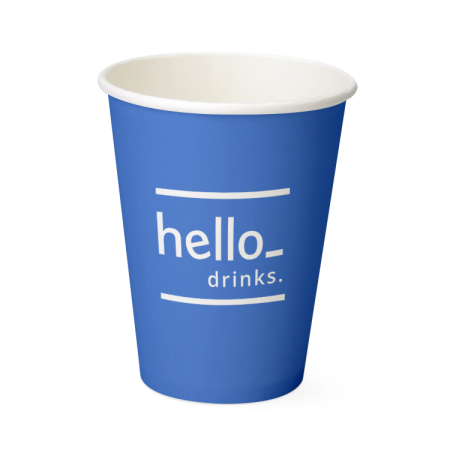 A blue coloured single wall paper cup available with custom printing options for a cheap price at Helloprint