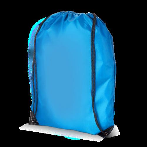 Een blauw gekleurde polyester rugzakje.  Ook te bedrukken met jouw logo of design bij Helloprint.