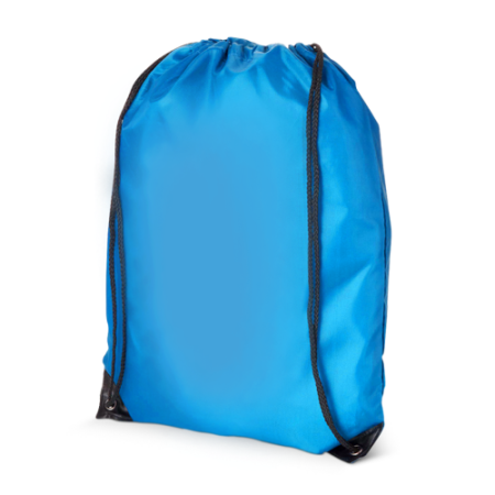Cheap light blue polyester drawstring bags with Helloprint. Learn more about our products and easily order print online.
