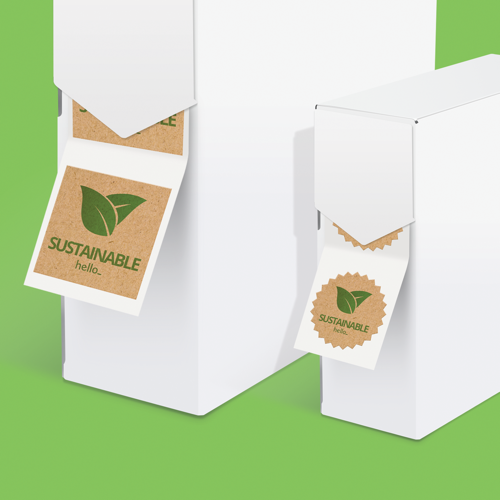 Custom Size Eco-Friendly Labels on roll in various shapes from Helloprint