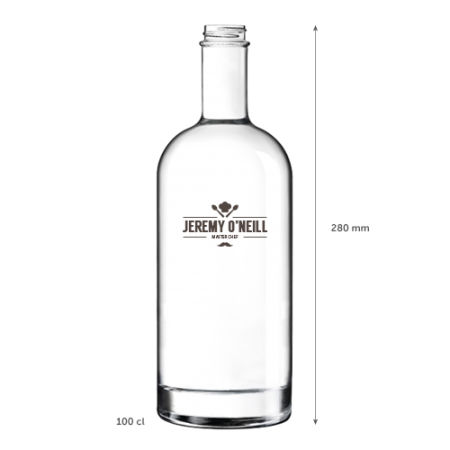 A 1 litre classic glass bottle available with personalised printing options for a cheap price at Helloprint