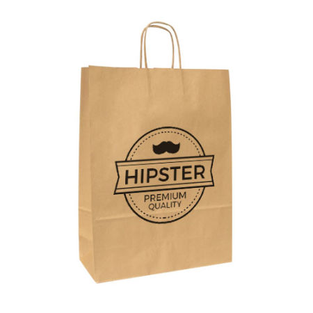 A brown coloured Kraft paper bag available with customised printing solutions for a cheap price at Helloprint