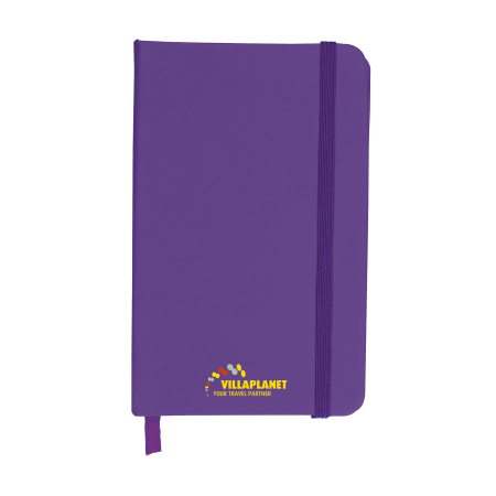 A purple A6 notebook available at Drukzo with custom printing options for a cheap price